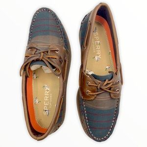 Plaid Sperry Leather Boat Shoes Men's 8 Women's 10